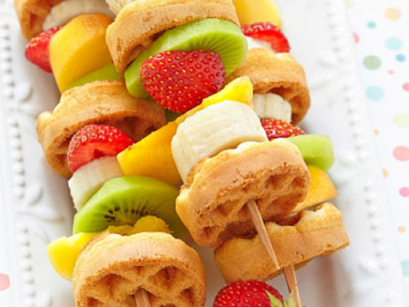 Tropical Fruit and Waffle Kabobs