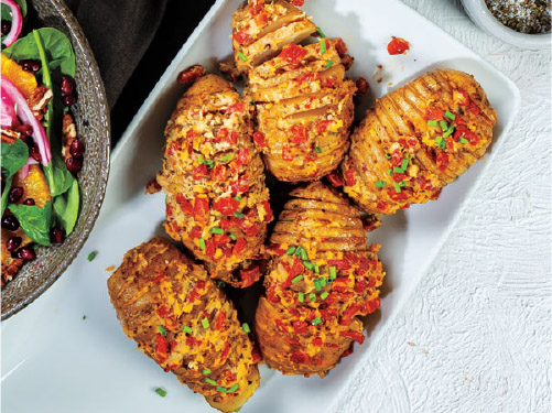 Hasselback Potatoes with Horseradish & Roasted Red Peppers
